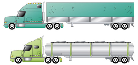 inventory: American conventional trucks & trailers Illustration