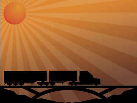 haul: Truck on bridge passing in the sunset