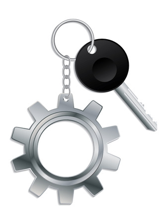car key: Cogwheel keyholder Illustration