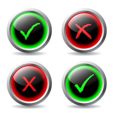 tick and cross buttons Vector
