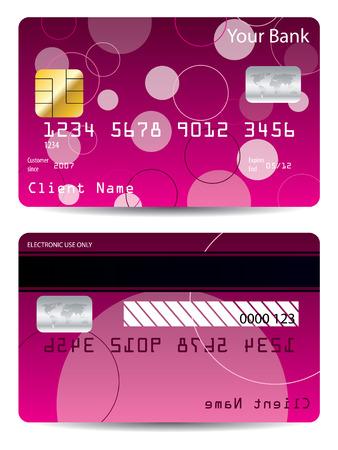 visa credit card: Pink credit card  Illustration