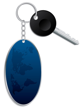 keyring: World map keyholder with key Illustration