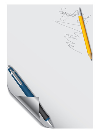 Pen and pencil with paper Stock Vector - 6829363