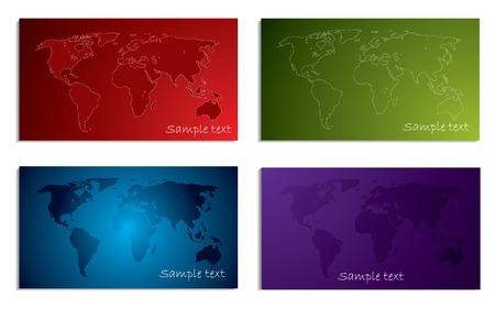 World map business card set Stock Vector - 6829375