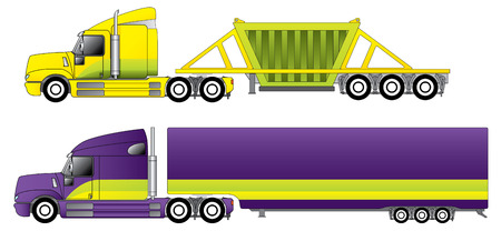 Conventional trucks with reefer and dump trailers Vector