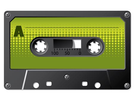 Green halftone labeled cassette Stock Vector - 6858698