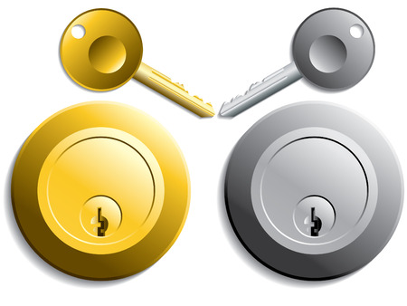 to conceal: Keys and locks in gold and silver color