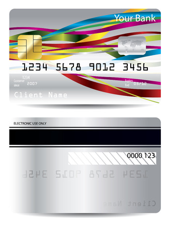 Ribbon design on credit card Vector