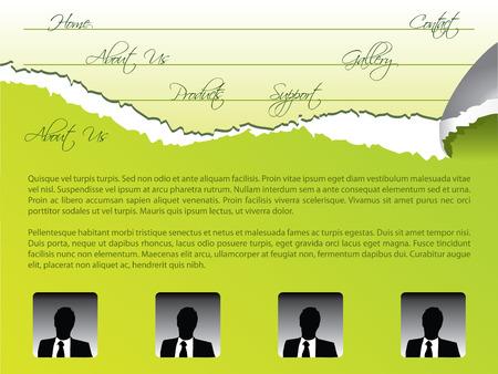 Green torn web template Vector