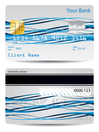 Blue ribbons credit card Stock Vector - 6934096