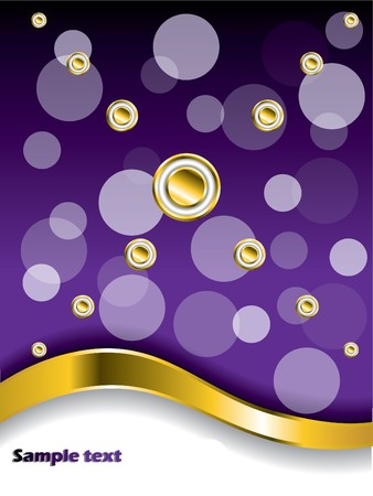 Dotted Purple background with gold wave Stock Photo - 7001845