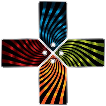 Striped color label set of four photo
