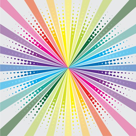 Rainbow burst background with halftone Stock Vector - 7001870