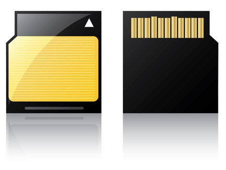 cf: Con etichetta mini Sd card con etichetta a strisce giallo  Vettoriali