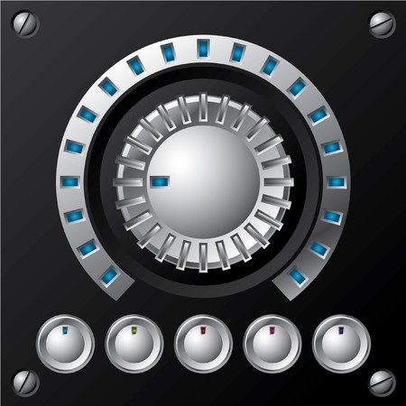 Blue led volume knob with buttons Vector