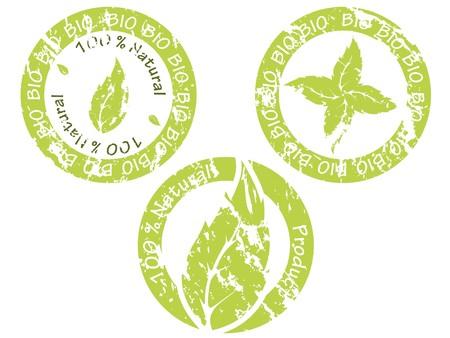 Green bio seal collection of three Vector