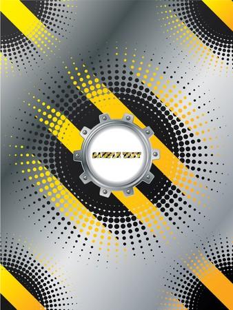 Cogwheel on warning background design Vector