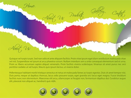 Green torn website template with rainbow colors Vector