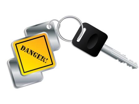 Cool yellow-metallic keyholder with key Vector