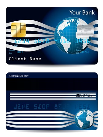 Cool credit card design with globe Vector