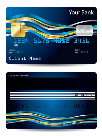 debit card: Ribbons on blue credit card design