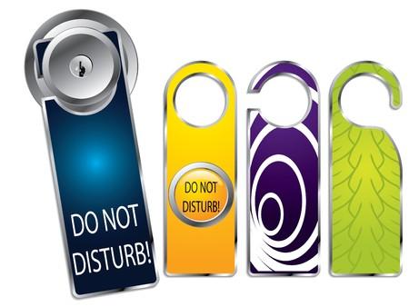 Etiketten, een deur knop niet storen  Vector Illustratie