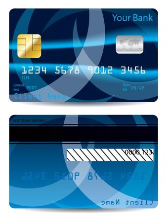 tarjeta visa: Dise�o de tarjeta de cr�dito de abstracto azul  Vectores