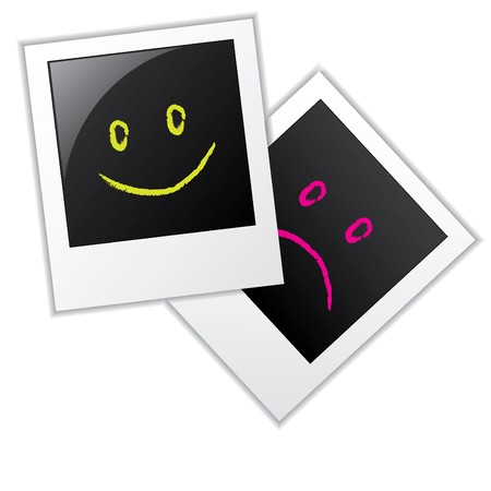 white polaroids: Photo frames with two kind of smileys