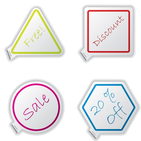 Cool set of different shapes of stickers Vector