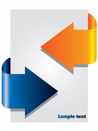 blue arrow: Arrow brochure with two colors