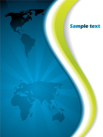 Blue backdrop with map and green wave Stock Photo - 7213008