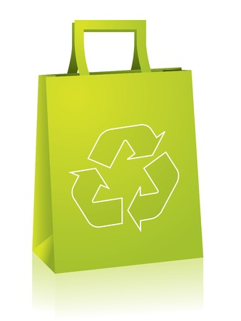 reusable: Shopping paperbag with recycle sign Illustration