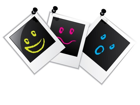 Photo frame set of three with smileys Vector