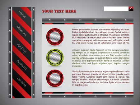 Red striped website template design photo