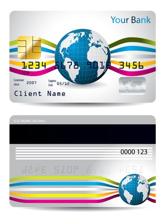 Cool credit card design with waves and globe  Vector