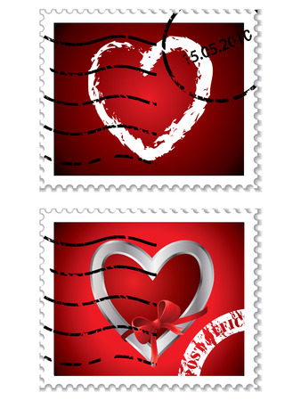 Heart stamps Stock Vector - 7308271