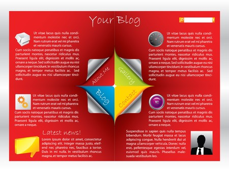 Red label web template for blog Stock Photo - 7317408