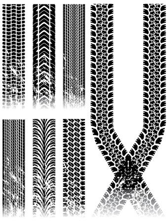 tire tracks: colecci�n de pista de neum�tico de diversos grunge