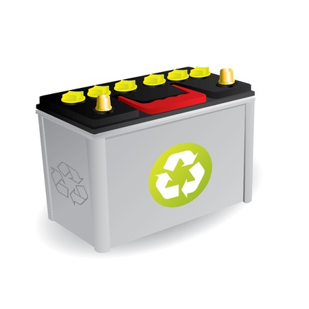 battery: Recyclable car battery with sign