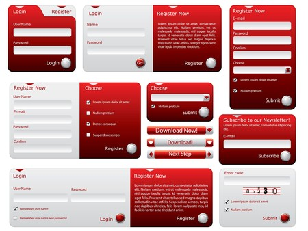 Red and silver web forms design photo