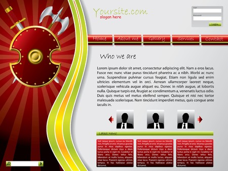 shielded: Shielded website template in red and green combination Stock Photo