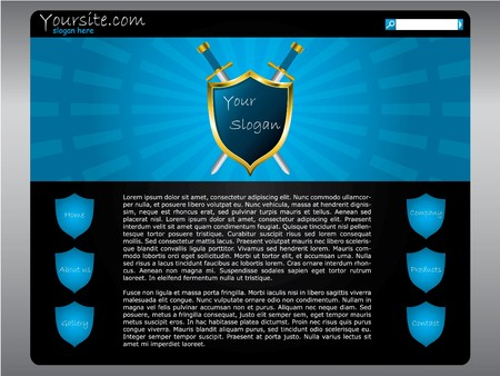 shielded: Shielded website template in blue and black combination