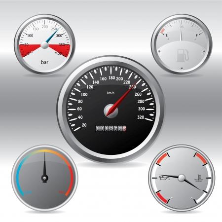 Diferentes tipos de manómetros metálicos  Foto de archivo - 7498981