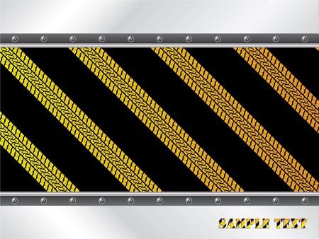 Yellow tire tracks on black background photo
