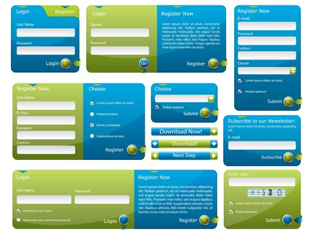 Blue and green web form template Stock Photo - 7498985