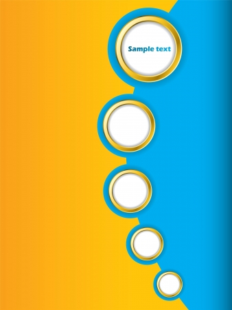 Blue and orange brochure design with golden rings photo