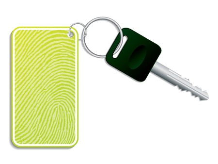 keychain: Green key with fingerprint access