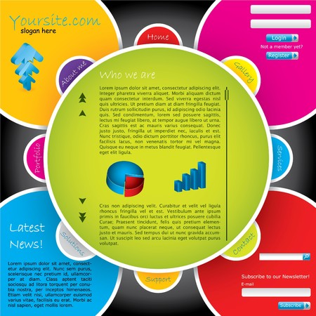 Flower-like colorful website template photo