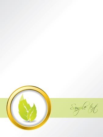 brochure cover: Leaf brochure design with golden ring