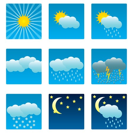 Weather icons and illustrations set Stock Vector - 7614257